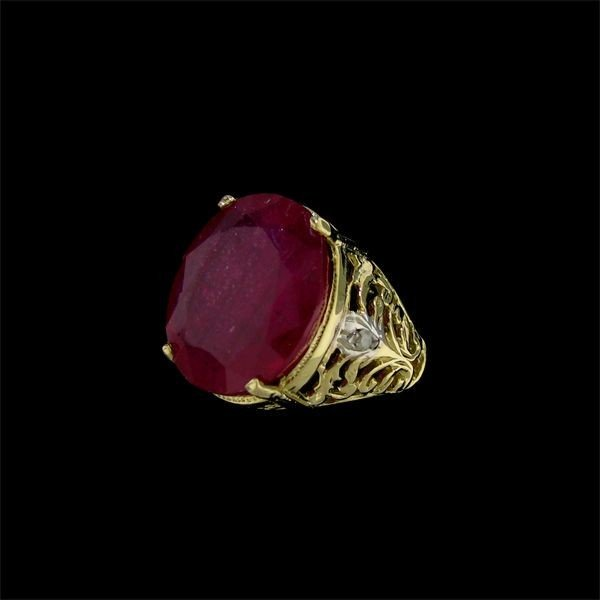 APP: 17.6k 13.97CT 14 kt. Gold, Ruby & Diamond Ring