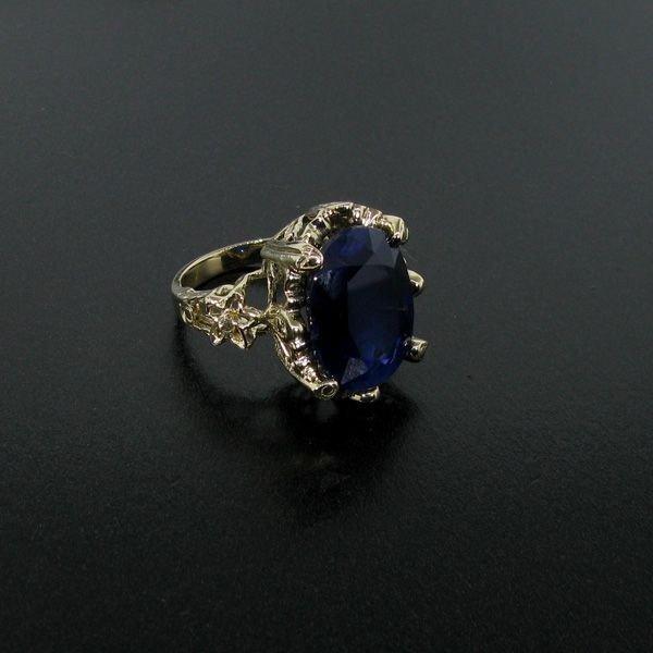 APP: 27k 13CT 14kt Gold, Blue Sapphire & Diamond Ring