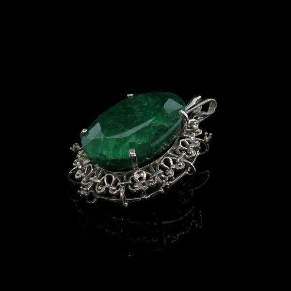 APP: 16.3k 38.39CT Emerald & Sterling Silver Pendant