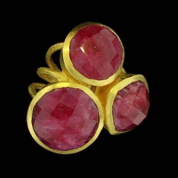 APP: 10k 24kt Gold 24CT Ruby, & Sterling Silver Ring