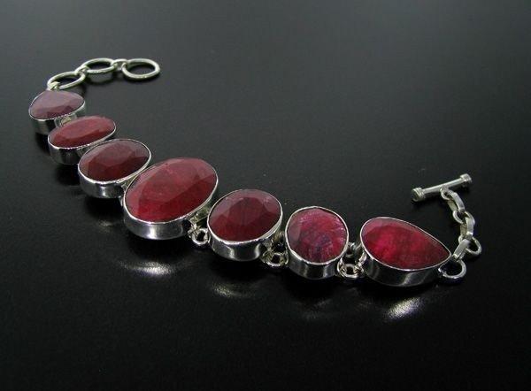APP: 62.6k 120.98CT Ruby & Sterling Silver Bracelet