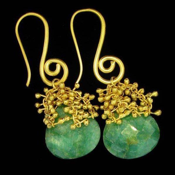 APP: 4k 24kt Gold 13CT Emerald & Sterling Silv Earrings