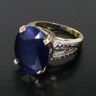 APP: 19k 11CT 14kt Gold, Blue Sapphire & Diamond Ring