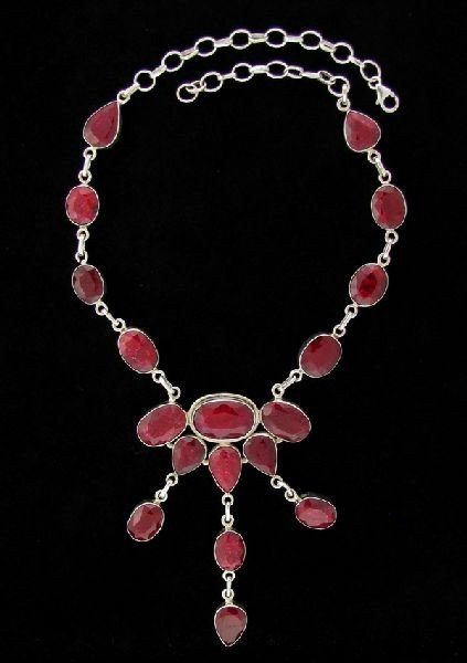 APP: 132k 143.36CT Ruby & Sterling Silver Necklace