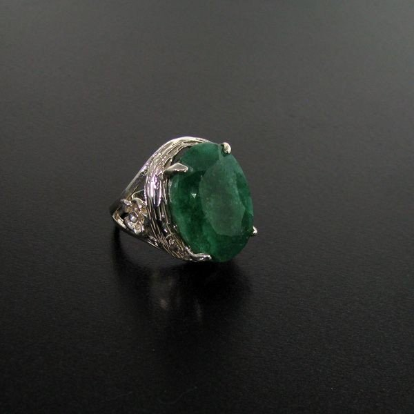 APP: 11.6k 16.97CT Emerald & Sterling Silver Ring