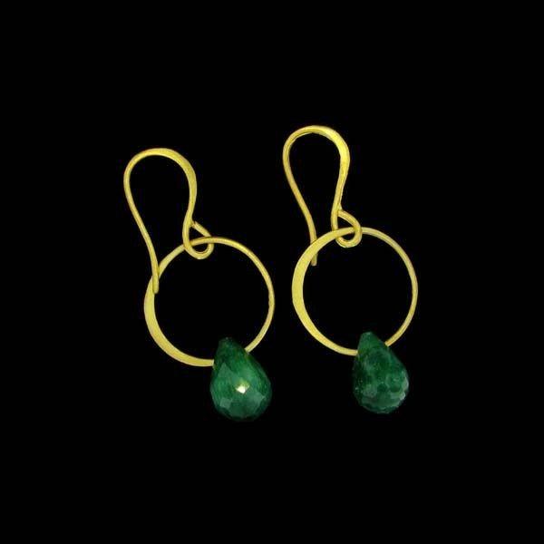 APP: 9k 24kt Gold 14CT Emerald & Sterling Silv Earrings