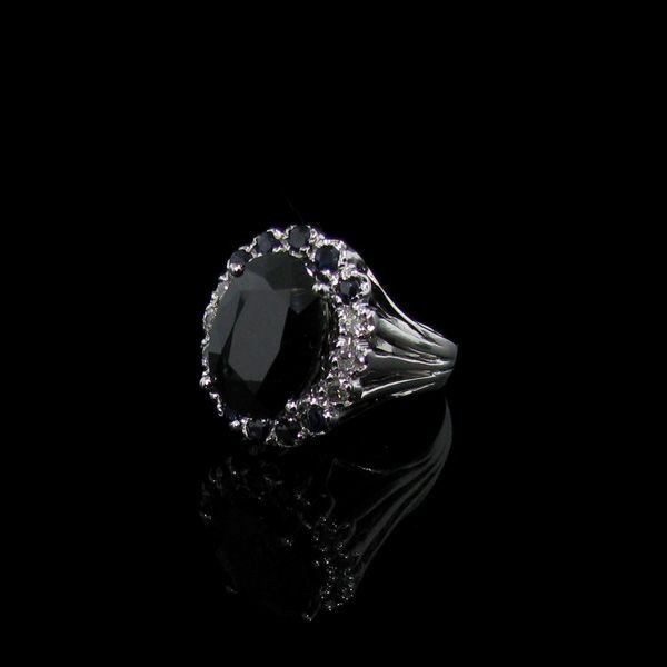 APP: 12k 14kt Silver 8CT Blue Sapphire & Diamond Ring