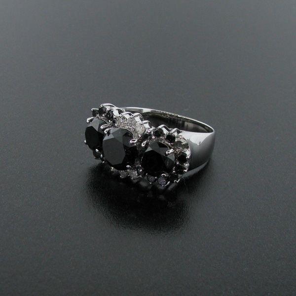 APP: 15k Platinum Silver 7CT Rare Black Diamonds Ring