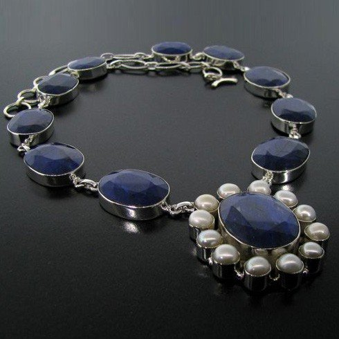 APP: 57k 211CT Blue Sapphire & Sterling Silver Necklace
