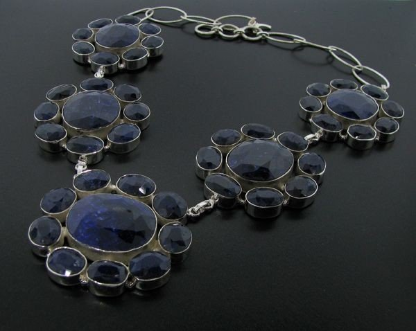 APP: 132k 357CT Sapphire & Sterling Silver Necklace