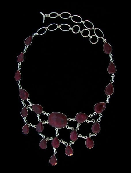 APP: 105k 202.21CT Ruby & Sterling Silver Necklace