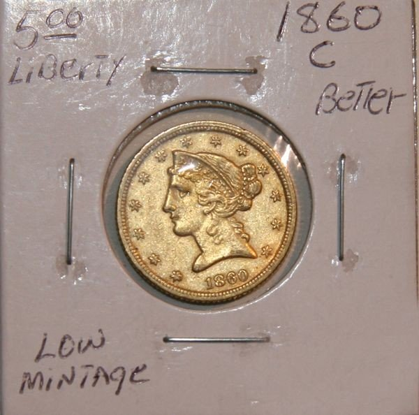 1860-C $5 Liberty Head Gold Coin - Investment