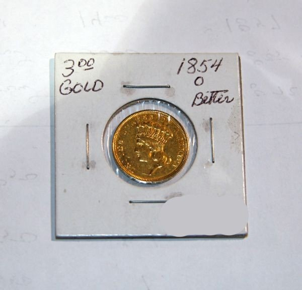 1854-O $3 U.S. Indian Head Gold Coin - Investment