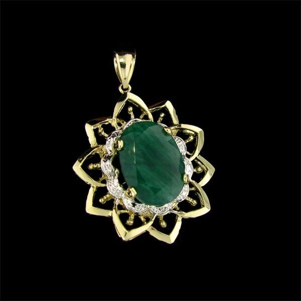 APP: 25k 14kt  Gold, 13.40CT Emerald & Diamond Pendant