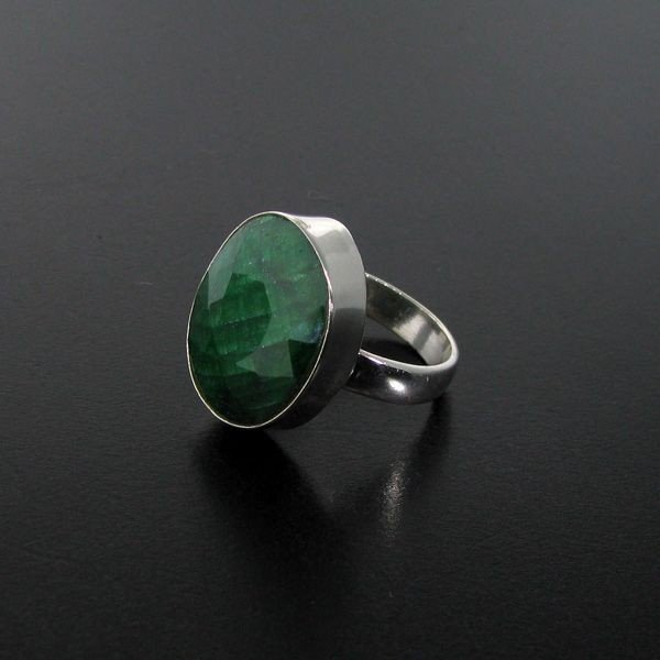 APP: 3.8k 16.53CT Green Sapphire & Sterling Silver Ring
