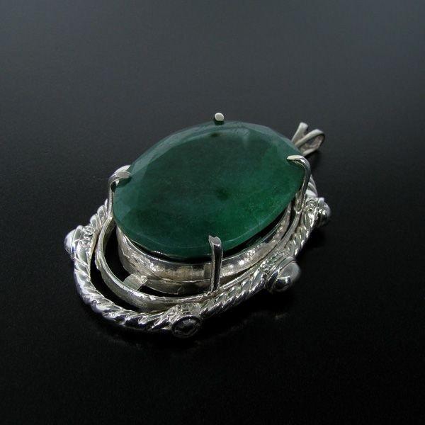 APP: 28.5k 123.58CT Emerald & Sterling Silver Pendant
