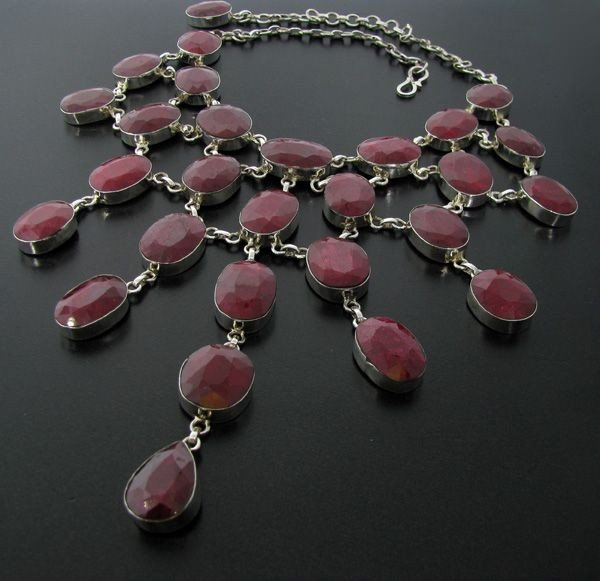 APP: 116.9k 397.62CT Ruby & Sterling Silver Necklace