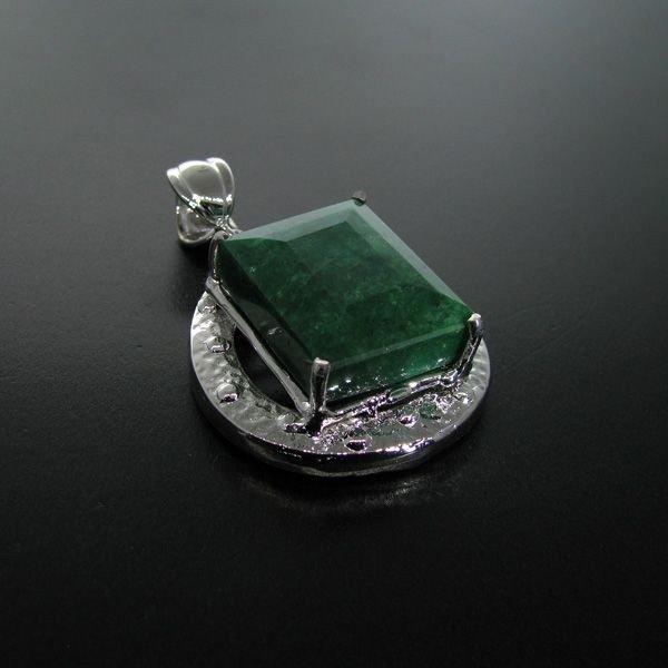 APP: 21.3k 60.69CT Emerald & Sterling Silver Pendant