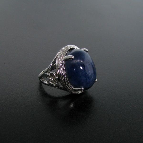 APP: 13k 32CT Sapphire & Platinum Plated Silver Ring