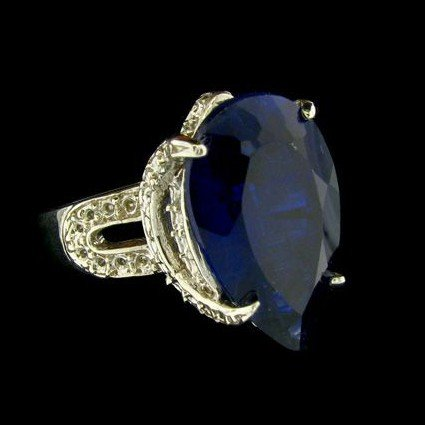 APP: 24.3k 10.86CT Blue Sapphire & Sterling Silver Ring