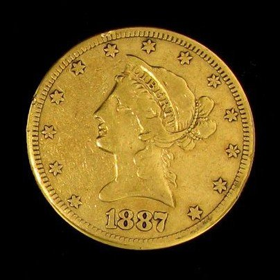 1887-S $10 U.S. Liberty Head Gold Coin - Investment