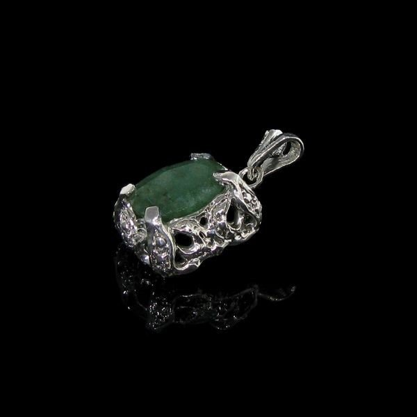 APP: 2.9k 3.78CT Emerald & Sterling Silver Pendant