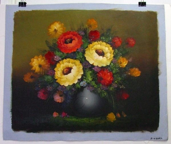Oil Painting On Canvas (Yellow & Red Flowers On Pot)