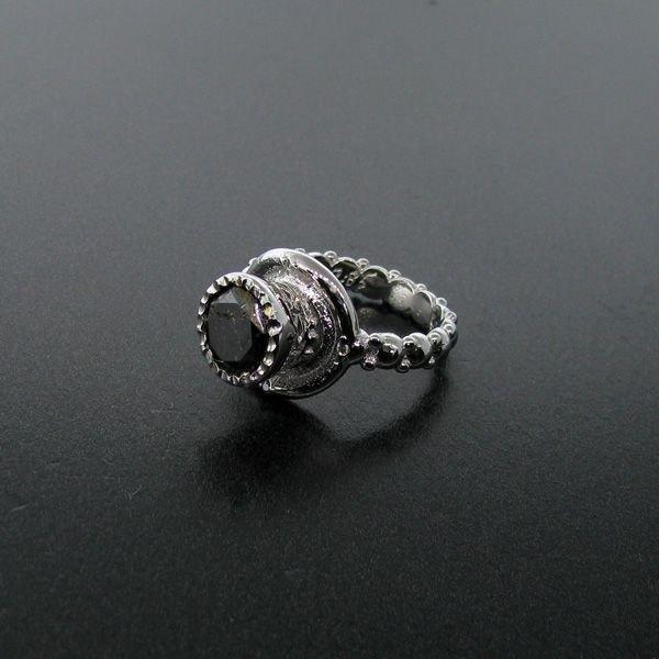 APP: 10k 2CT Rare Black Diamond 14 kt. White Gold, Ring