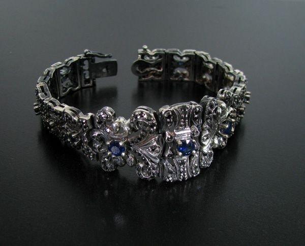 APP: 4k 3CT Sapphire & Black Diamond Silver Bracelet