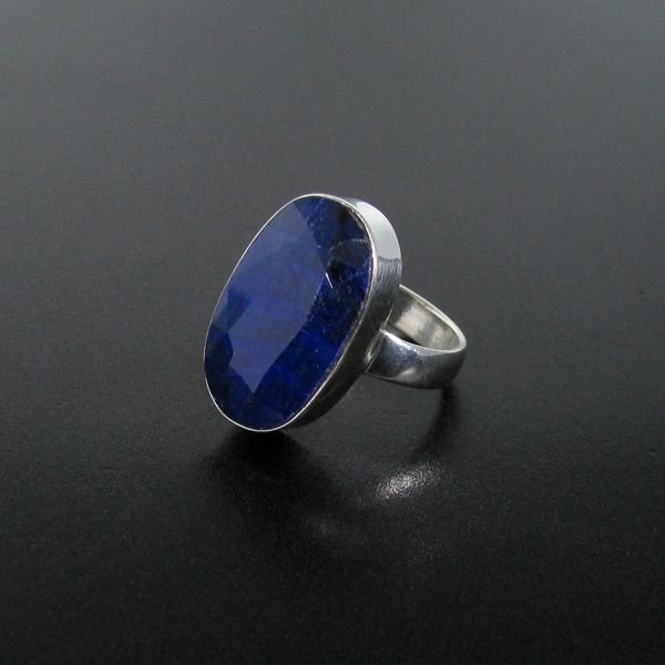 APP: 3.6k 12.63CT Blue Sapphire & Sterling Silver Ring