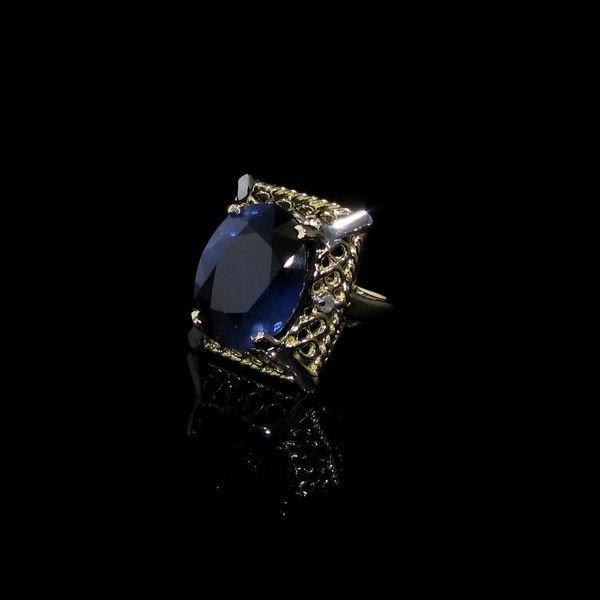 APP: 23k 13CT 14kt Gold Blue Sapphire & Diamond Ring