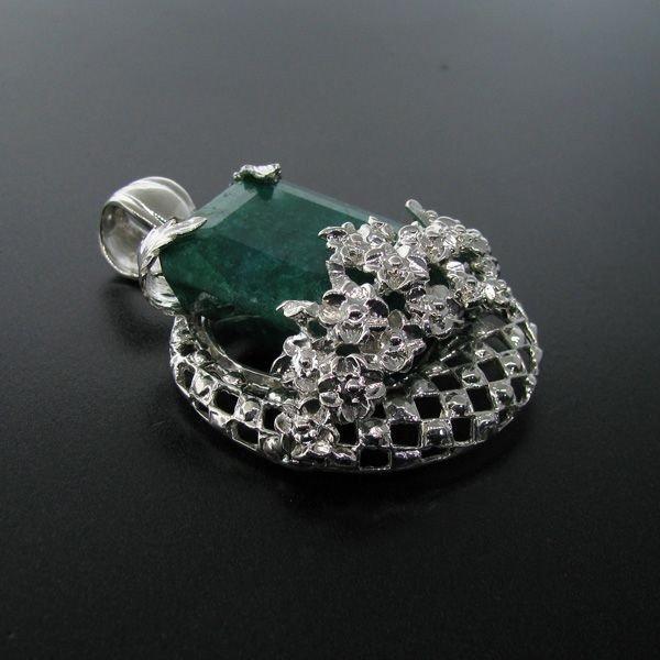 APP: 30.5k 115.54CT Emerald & Sterling Silver Pendant