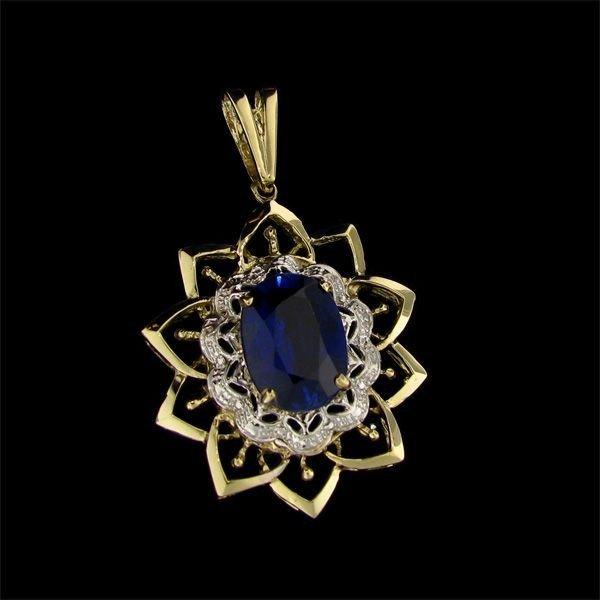 APP: 25k 11CT 14kt Gold Sapphire & Diamond Pendant