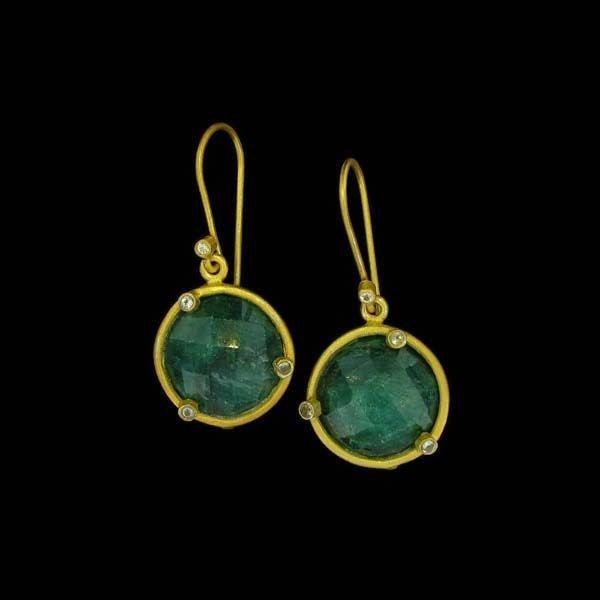 APP: 11k 24kt Gold 16CT Emerald & Sterl Silver Earrings