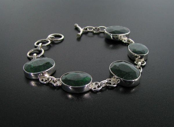 APP: 12k 42CT Green Sapphire & Sterling Silver Bracelet