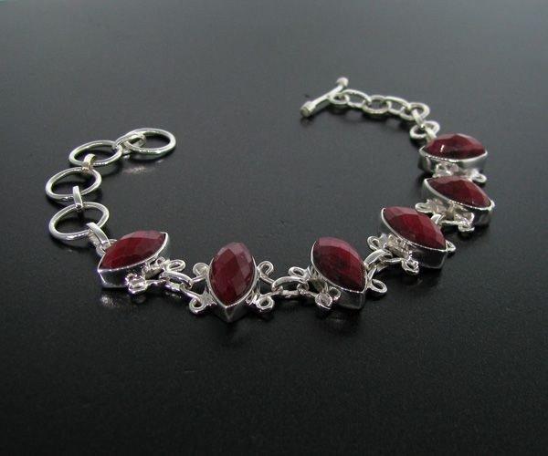 APP: 9.4k 23.77CT Ruby & Sterling Silver Bracelet