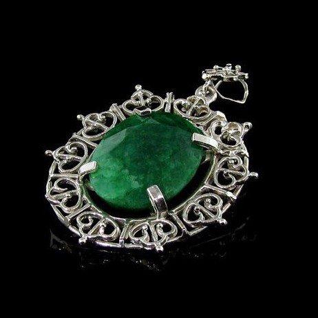 APP: 11k 20.69CT Emerald & Sterling Silver Pendant
