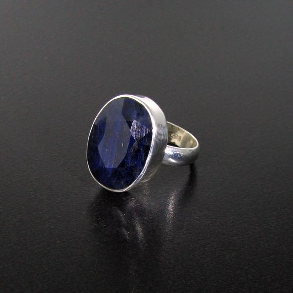 APP: 3.2k 11.06CT Blue Sapphire & Sterling Silver Ring