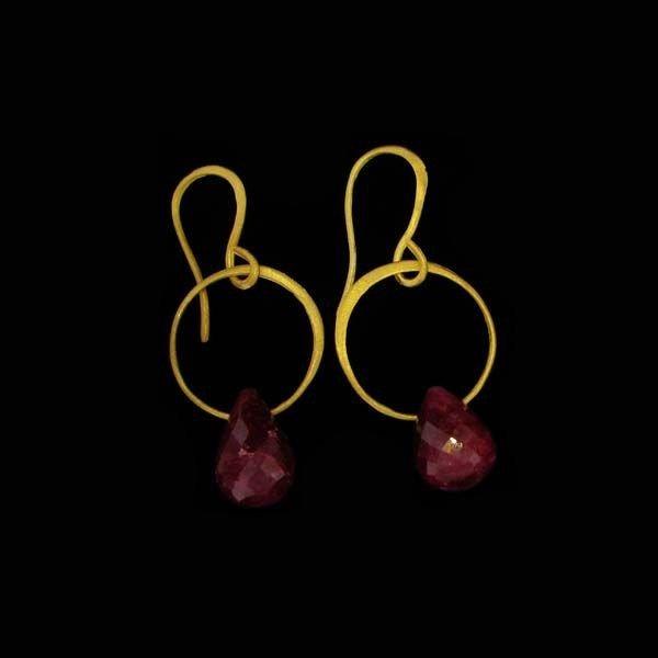 APP: 13k 24ktGold 24CT Ruby, & Sterling Silver Earrings