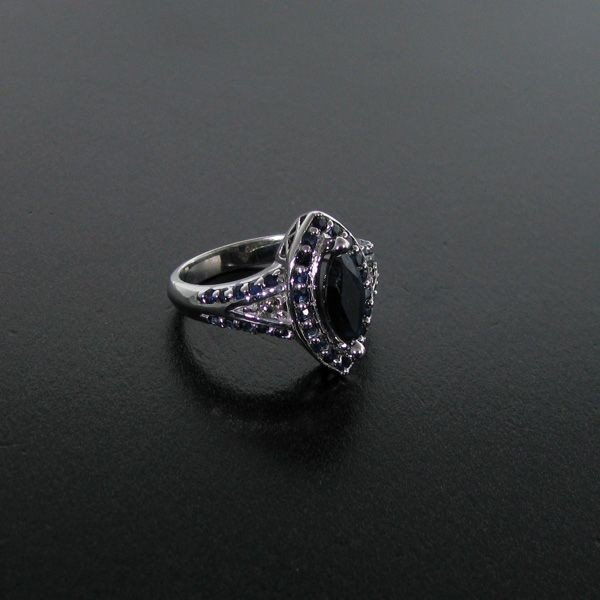 APP: 3k 1CT Sapphire, & Platinum Plated Silver Ring