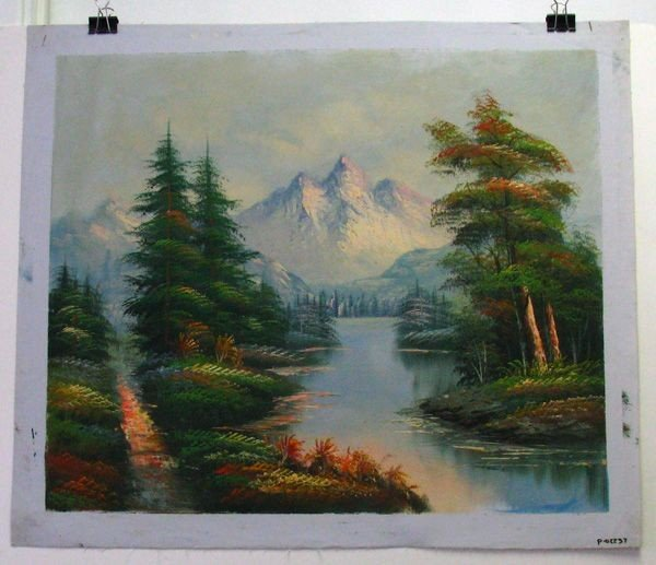 Oil Painting On Canvas (River Between Pines) 23.5 X 27