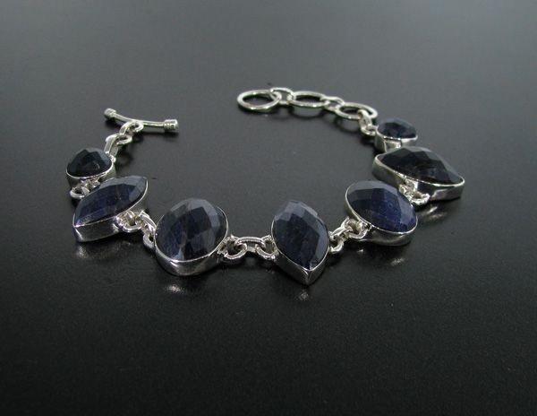 APP: 19k 73CT Blue Sapphire & Sterling Silver Bracelet