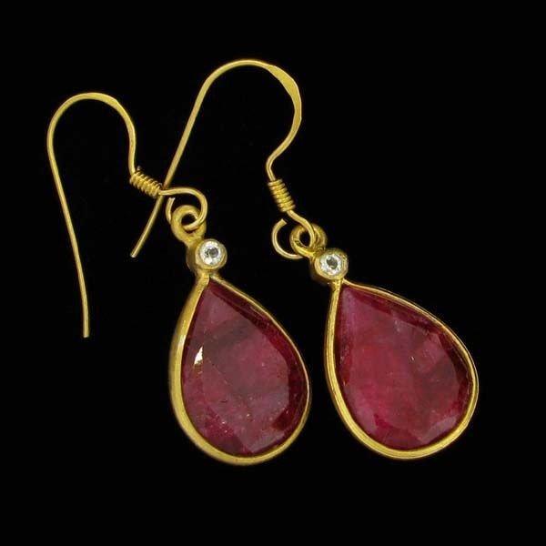 APP: 10k 24kt Gold 19CT Ruby & Sterling Silver Earrings