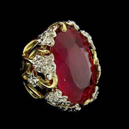 APP: 46.7k 14 kt. Gold, 33.25CT Ruby & Diamond Ring