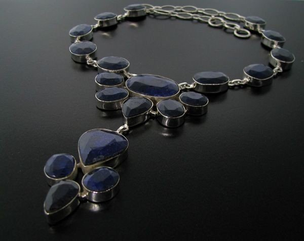 APP: 58k 215CT Blue Sapphire & Sterling Silver Necklace