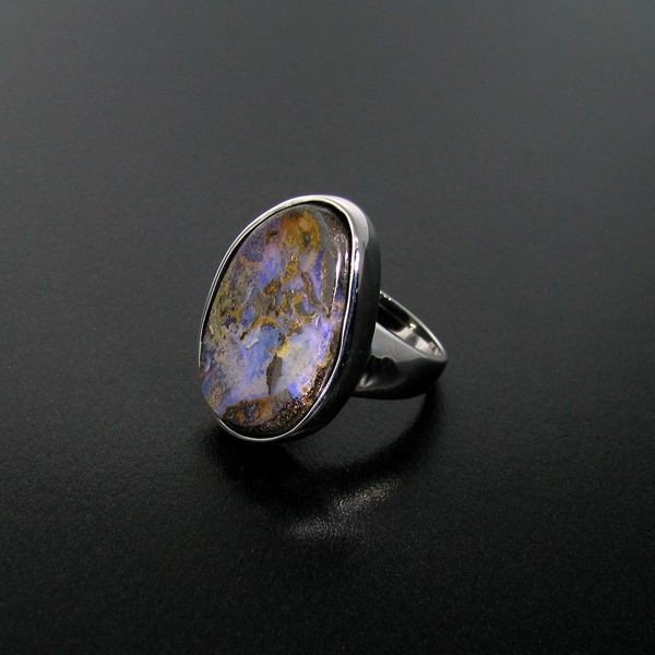 APP: 8.7k 25.85CT Boulder Opal & Sterling Silver Ring