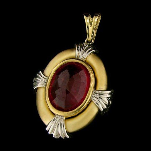 APP: 37.6k 14 kt. Gold, 29.66CT Ruby & Diamond Pendant