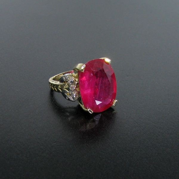 APP: 21k 14 kt. Gold, 14.36CT Ruby & Diamond Ring