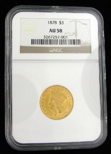 1878 U.S. Gold Princess $3 Coin - Investment