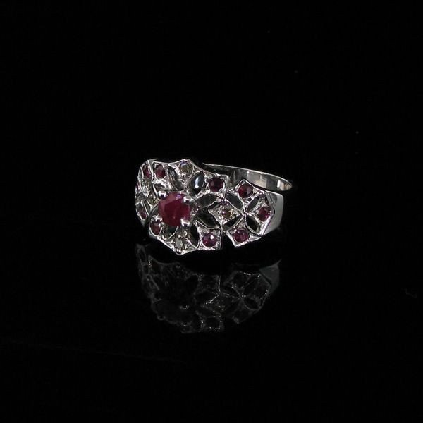 APP: 2.3k 0.39CT Ruby, & Platinum , Plated Silver Ring